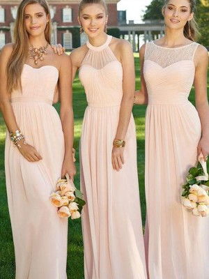 A-Line/Princess Sleeveless Floor-Length Chiffon Bridesmaid Dress With Ruched