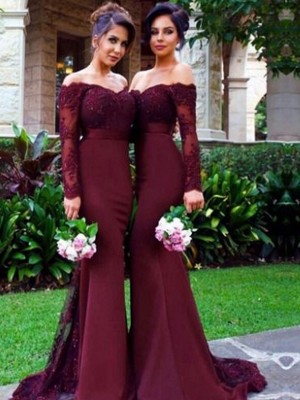 Trumpet/Mermaid Long Sleeves Off-the-Shoulder Satin Sweep/Brush Train Bridesmaid Dress