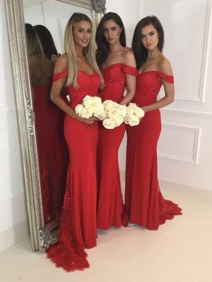Trumpet/Mermaid Off-the-Shoulder Sleeveless Jersey Sweep/Brush Train Bridesmaid Dress
