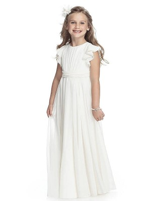 A-line/Princess Scoop Sleeveless Chiffon Floor-Length Flower Girl Dresses