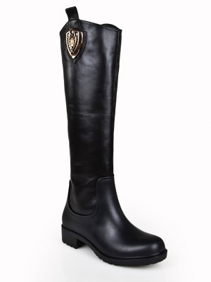 Women's Kitten Heel Closed Toe Cattlehide Leather With Rhinestone Knee High Boots
