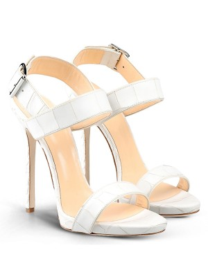 Women's Peep Toe Stiletto Heel Cattlehide Leather With Buckle Party Sandal Shoes