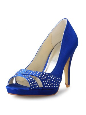Women's Cone Heel Peep Toe Satin With Rhinestone Dress Shoes