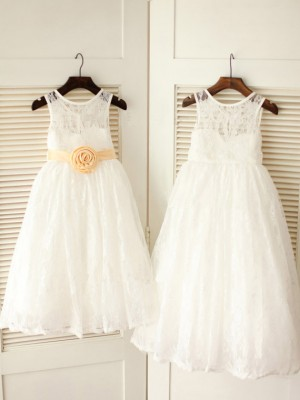 Ankle-Length A-Line/Princess Scoop Sleeveless Sash/Ribbon/Belt Lace Dresses