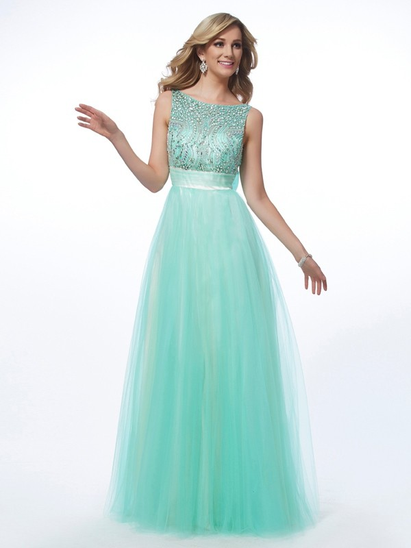 A-Line Bateau Sleeveless Beading Long Net Dresses