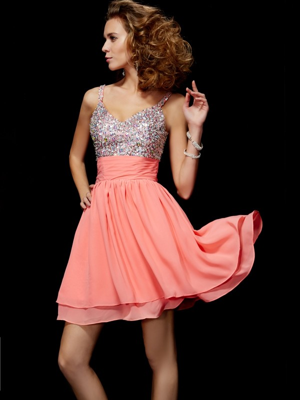 A-Line V-neck Sleeveless Beading Short Chiffon Debs Dress