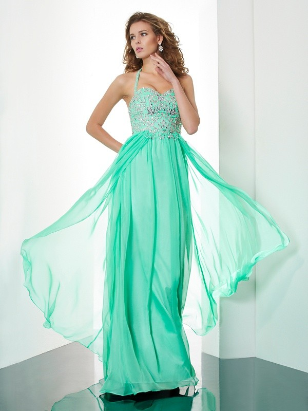 A-Line Halter Sleeveless Beading Applique Long Chiffon Dresses