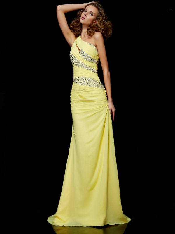 Sheath One-Shoulder Beading Sleeveless Long Chiffon Dresses