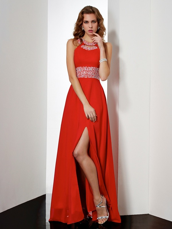 Empire Jewel Sleeveless Acrylic Jewels Long Chiffon Dresses