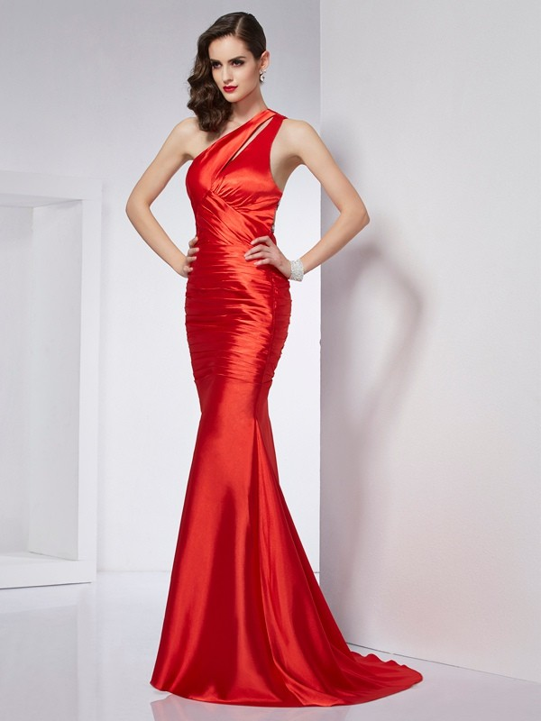 Sheath One-Shoulder Beading Long Elastic Woven Satin Dresses
