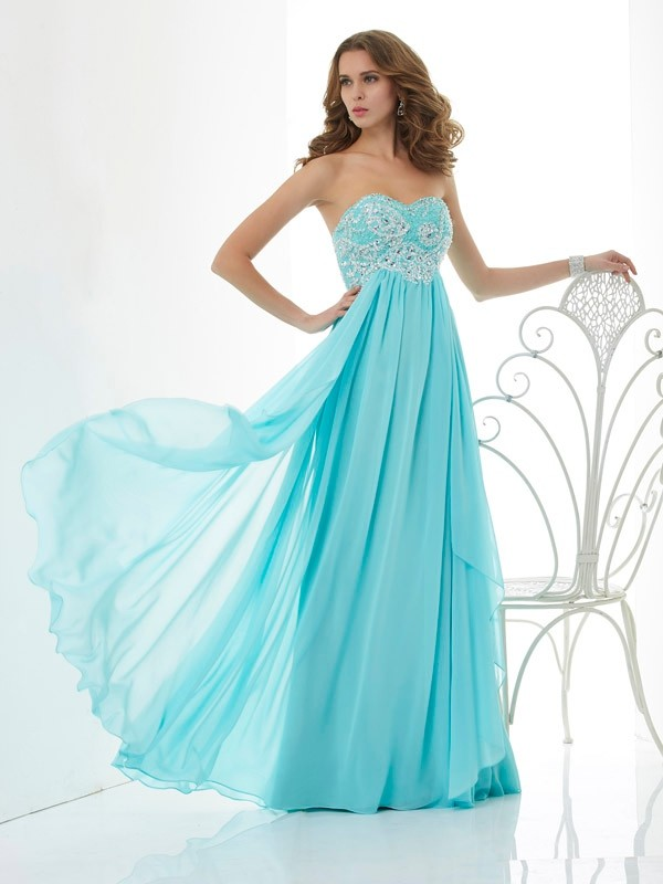 A-Line Beading Sweetheart Sleeveless Long Chiffon Dresses
