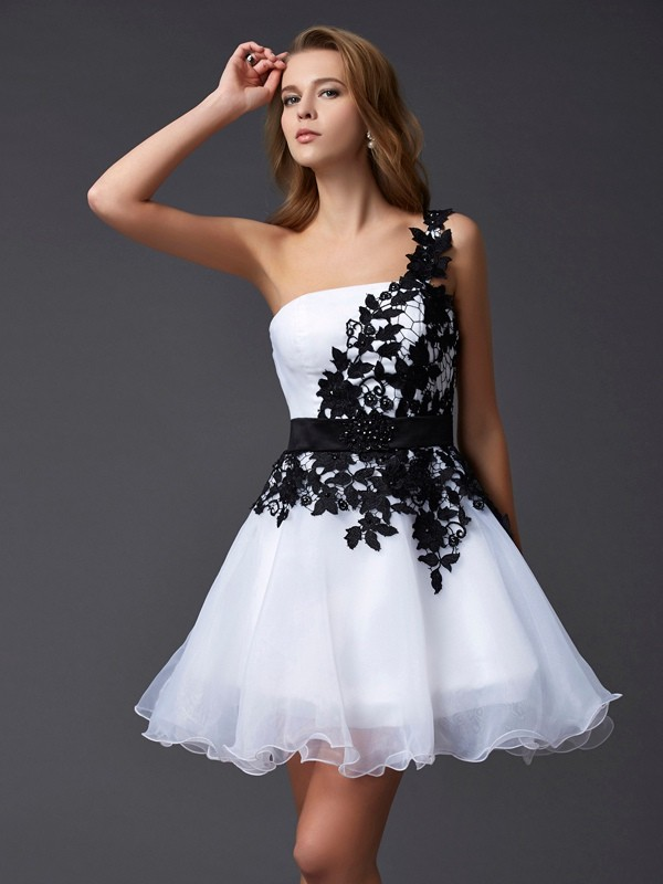 A-Line One-Shoulder Sleeveless Lace Short Organza Debs Dress