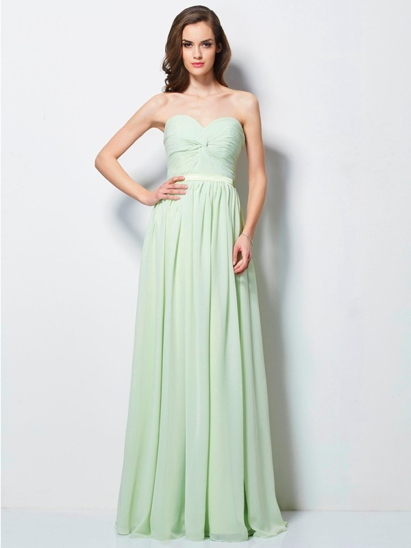 A-Line Sweetheart Pleats Sleeveless Long Chiffon Dresses