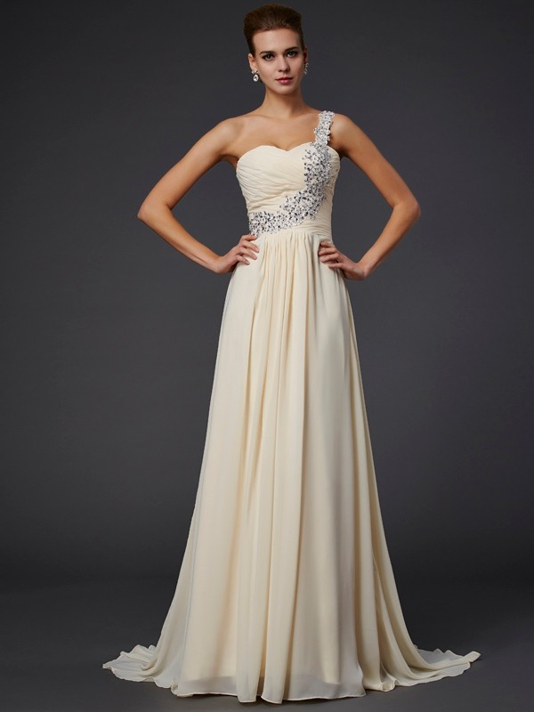 A-Line One-Shoulder Sleeveless Beading Applique Long Chiffon Dresses