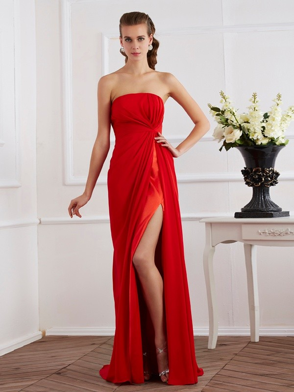 Sheath Strapless Sleeveless Pleats Long Chiffon Dresses