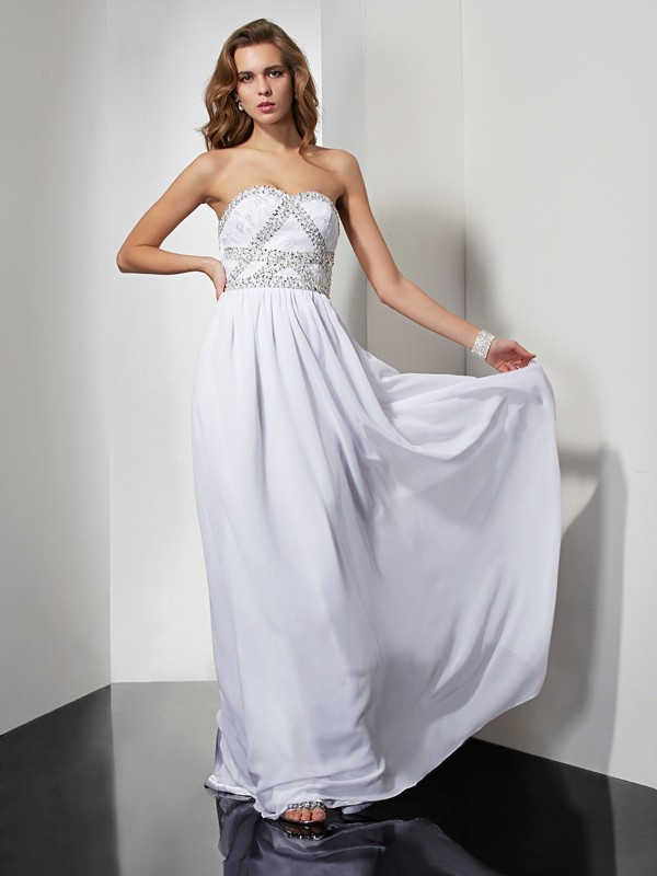 Sheath Strapless Sleeveless Beading Long Chiffon Dresses