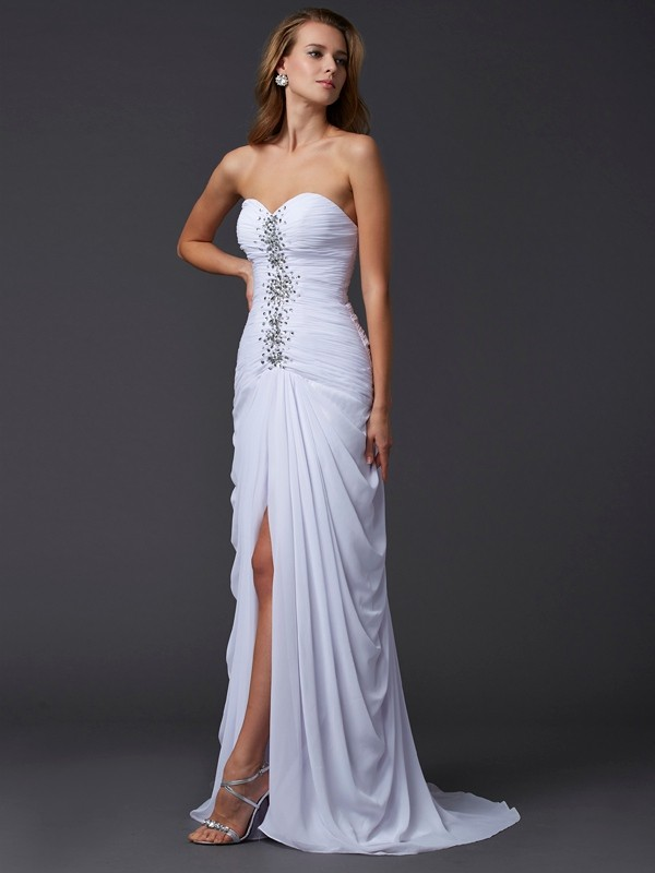 Sheath Sweetheart Sleeveless Long Beading Chiffon Dresses