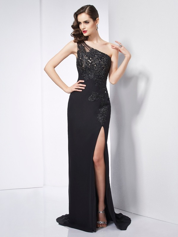 Sheath One-Shoulder Sleeveless Applique Long Chiffon Dresses