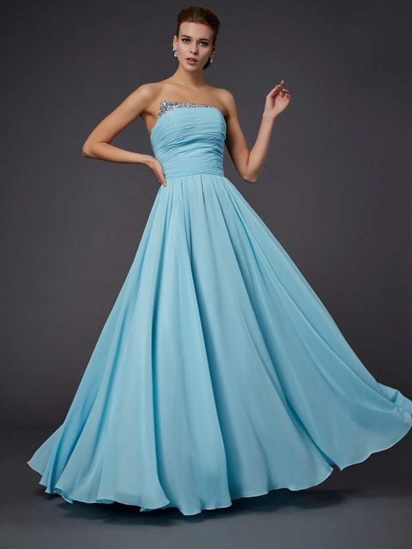 Sheath Strapless Beading Sleeveless Long Chiffon Dresses