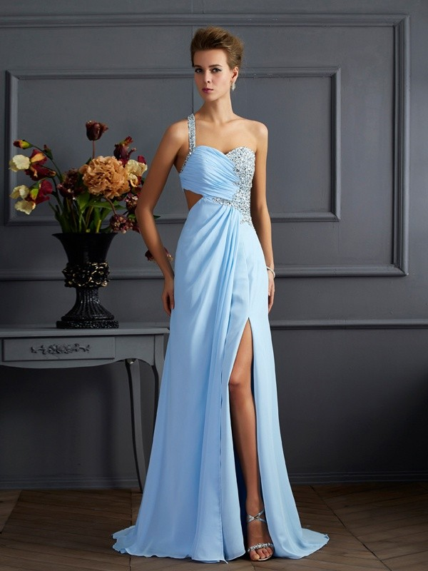 Sheath One-Shoulder Sleeveless Long Beading Chiffon Dresses