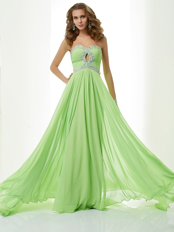 A-Line Sleeveless Sweetheart Beading Long Chiffon Dresses