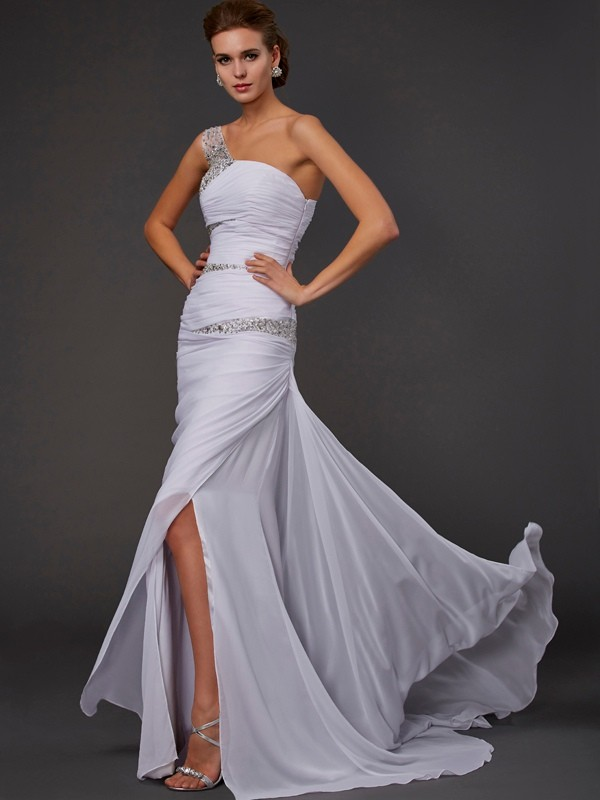 Sheath Sleeveless One-Shoulder Beading Long Chiffon Dresses