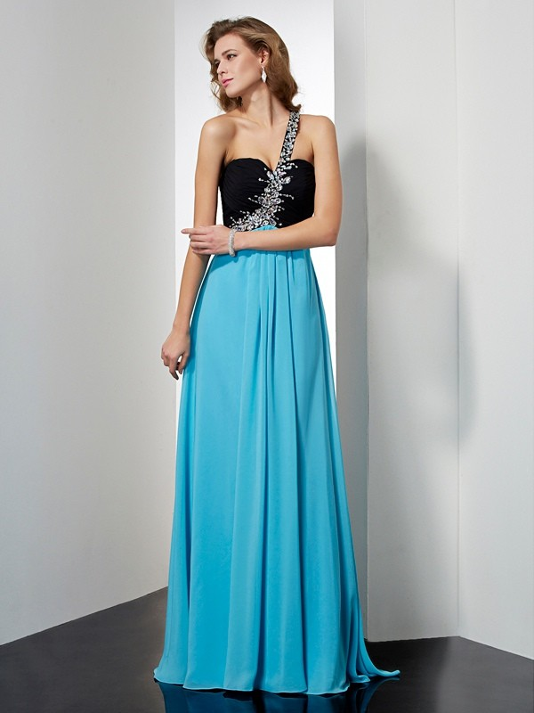 A-Line Sleeveless One-Shoulder Beading Long Chiffon Dresses
