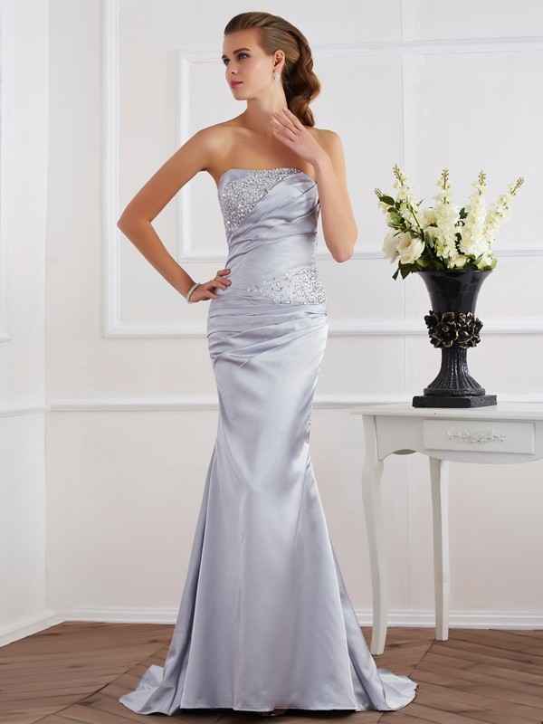 Mermaid Strapless Beading Long Elastic Woven Satin Dresses