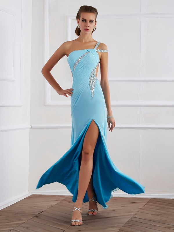 A-Line Sleeveless Beading One-Shoulder Long Chiffon Dresses
