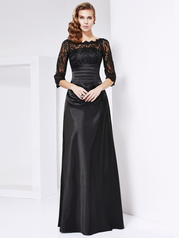 Sheath Off the Shoulder 3/4 Sleeves Lace Long Elastic Woven Satin Dresses