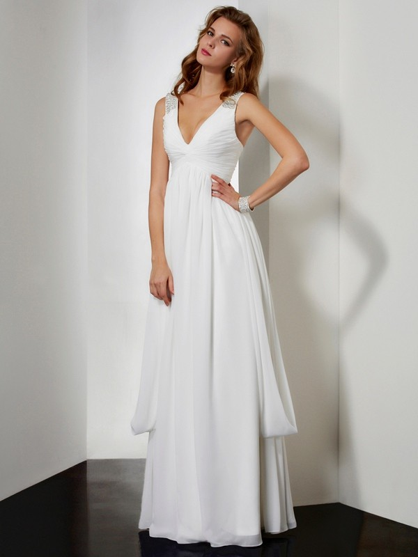 A-Line V-neck Sleeveless Rhinestone Long Chiffon Dresses