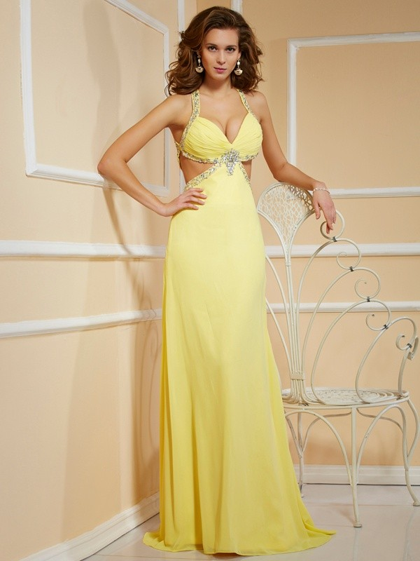 Sheath Spaghetti Straps Sleeveless Beading Long Chiffon Dresses