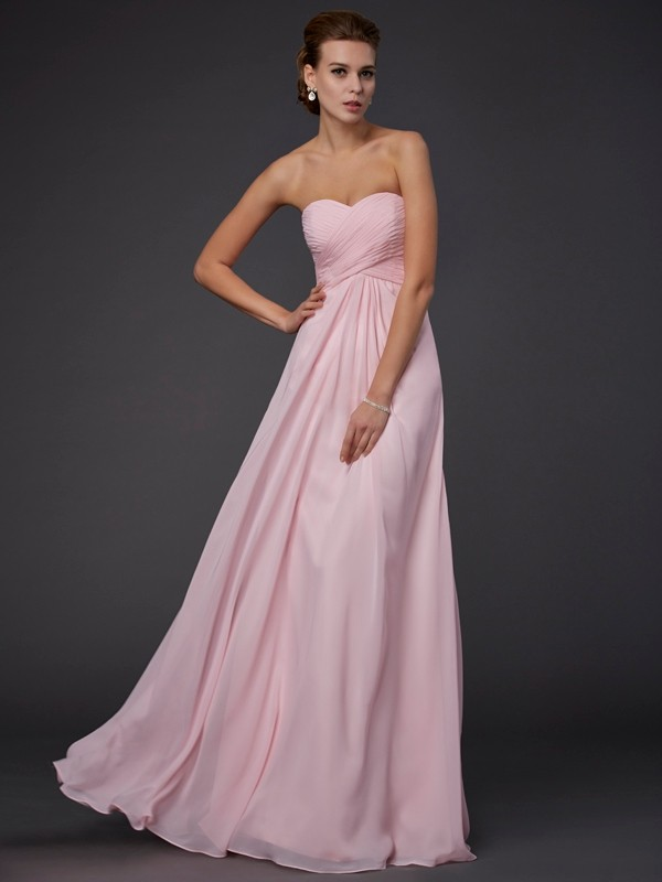 Sheath Sweetheart Sleeveless Ruffles Long Chiffon Dresses