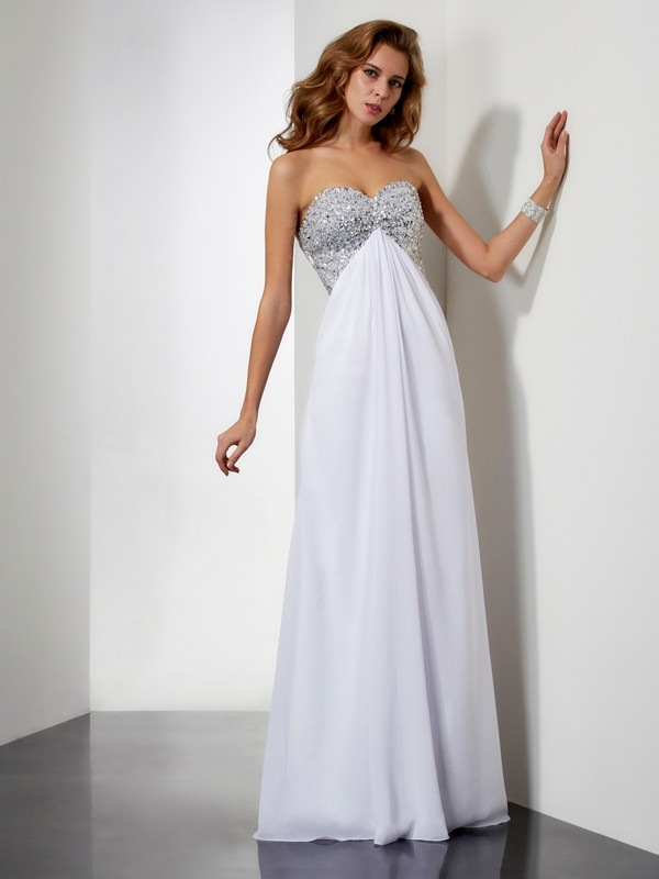 Sheath Beading Sweetheart Sleeveless Long Chiffon Dresses