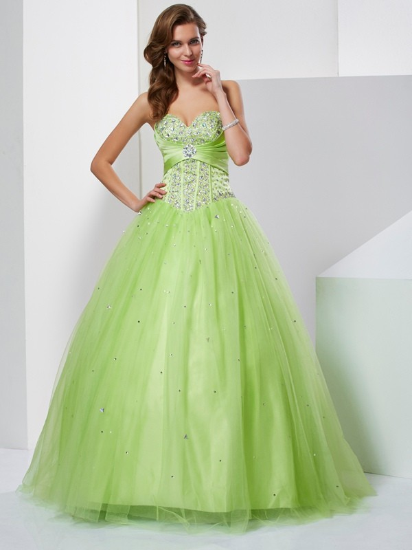 Ball Gown Sweetheart Beading Sleeveless Long Tulle Debs Dress