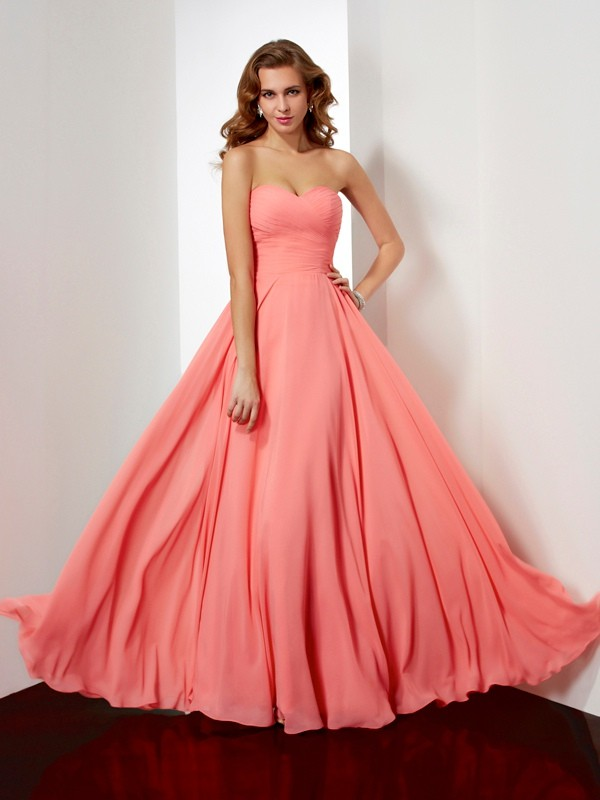 A-Line Sleeveless Sweetheart Pleats Long Chiffon Dresses