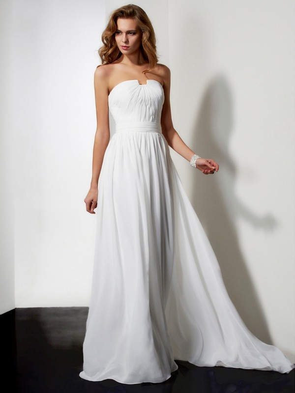 Strapless A-Line Sleeveless With Pleats Ruffles Sweep/Brush Train Chiffon Dresses