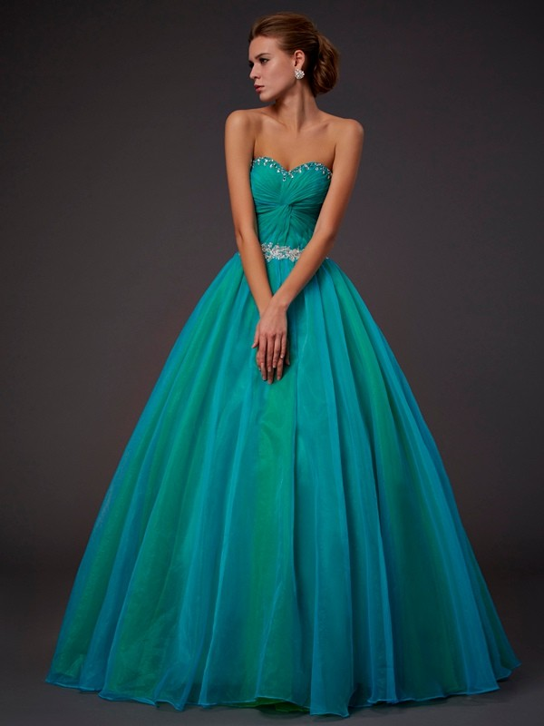 Ball Gown Sweetheart Sleeveless Long Beading Tulle Debs Dress
