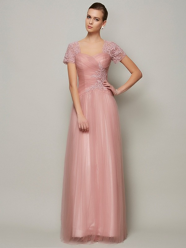 A-Line Sweetheart Short Sleeves Beading Long Satin Dresses