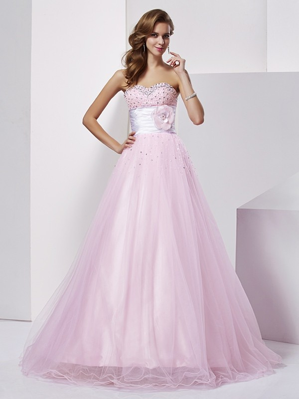 Ball Gown Strapless Sleeveless Beading Long Elastic Woven Satin Debs Dress