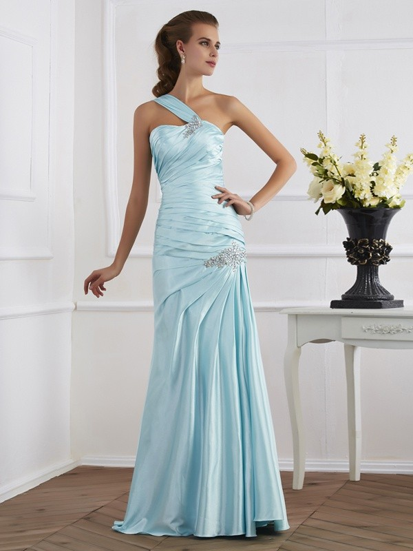 Mermaid One-Shoulder Sleeveless Ruched Long Elastic Woven Satin Dresses