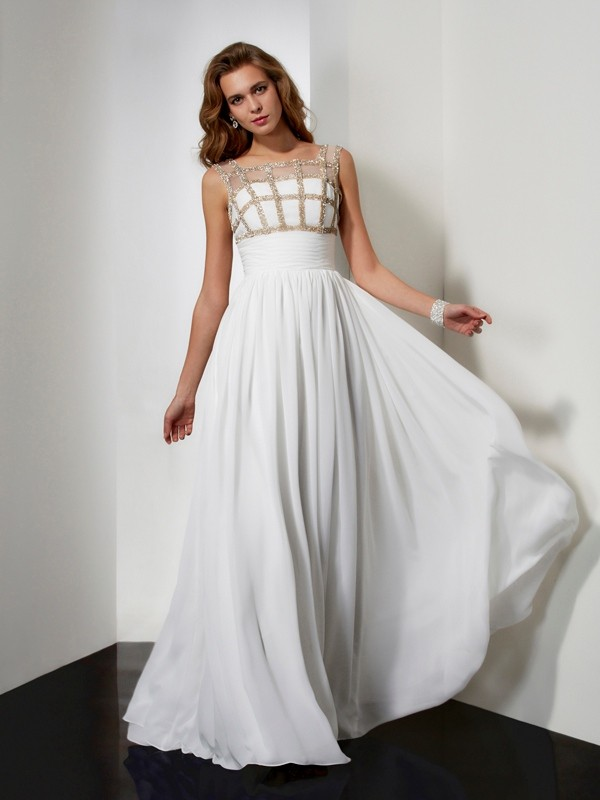 A-Line Straps Sleeveless Beading Chiffon Long Dresses
