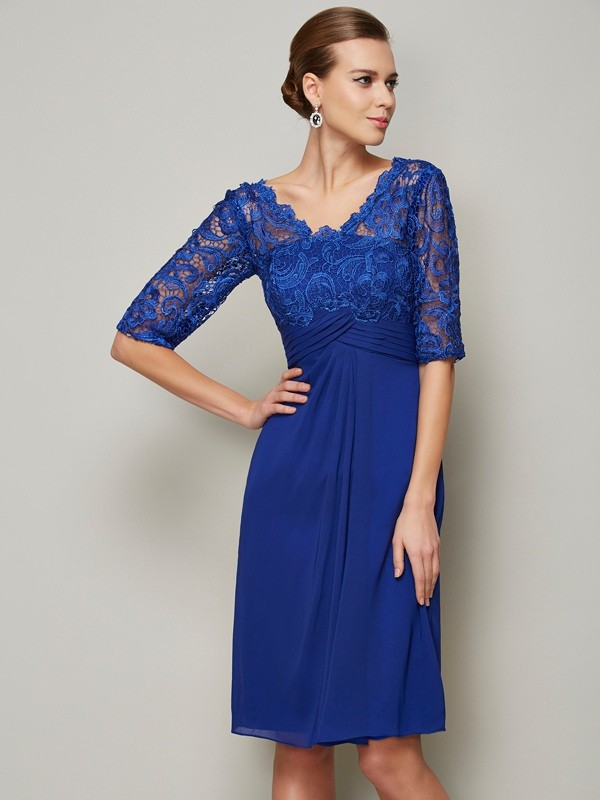 Fashion Sheath V-neck 1/2 Sleeves Lace Short Chiffon Dresses