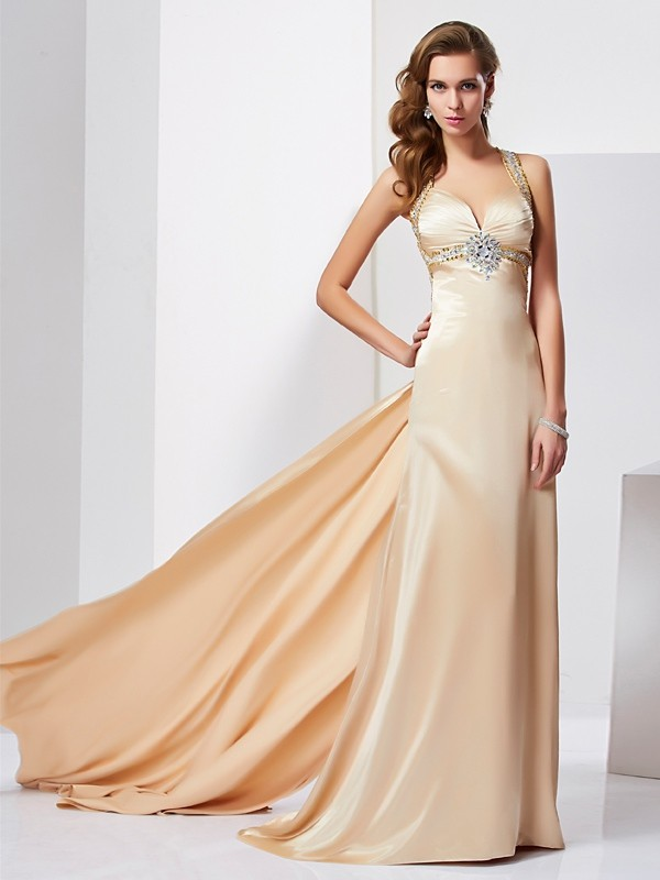 Sheath Halter Sleeveless Ruffles Long Silk like Satin Dresses