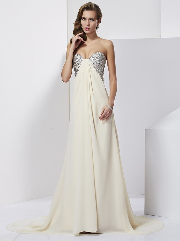 Sheath Sweetheart Sleeveless Beading Long Chiffon Dresses