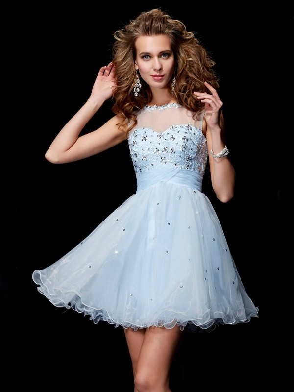 A-Line Scoop Sleeveless Beading Short Elastic Woven Satin Debs Dress