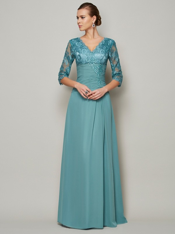 A-Line V-neck 3/4 Sleeves Lace Long Chiffon Dresses