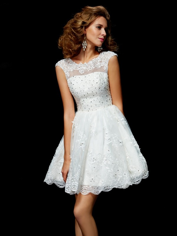 A-Line V-neck Short Sleeves Applique Short Organza Debs Dress