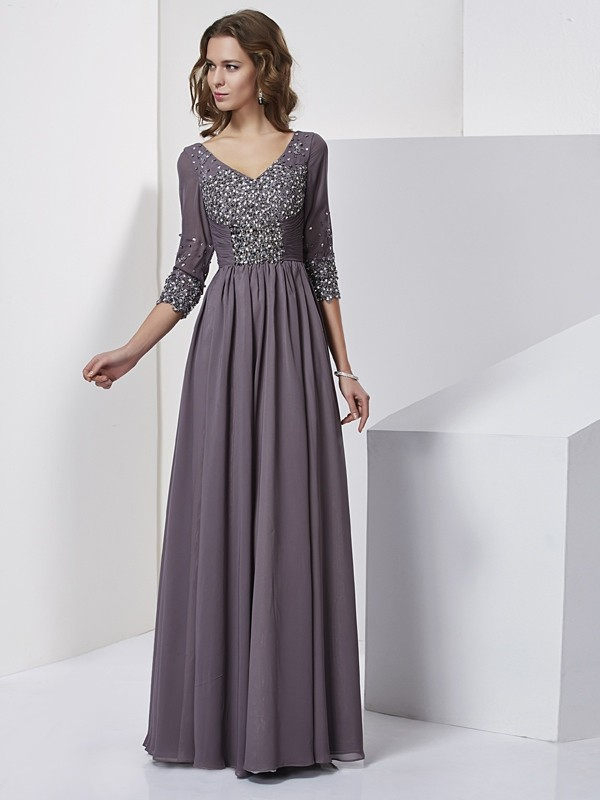 Sheath V-neck Beading 3/4 Sleeves Long Chiffon Dresses