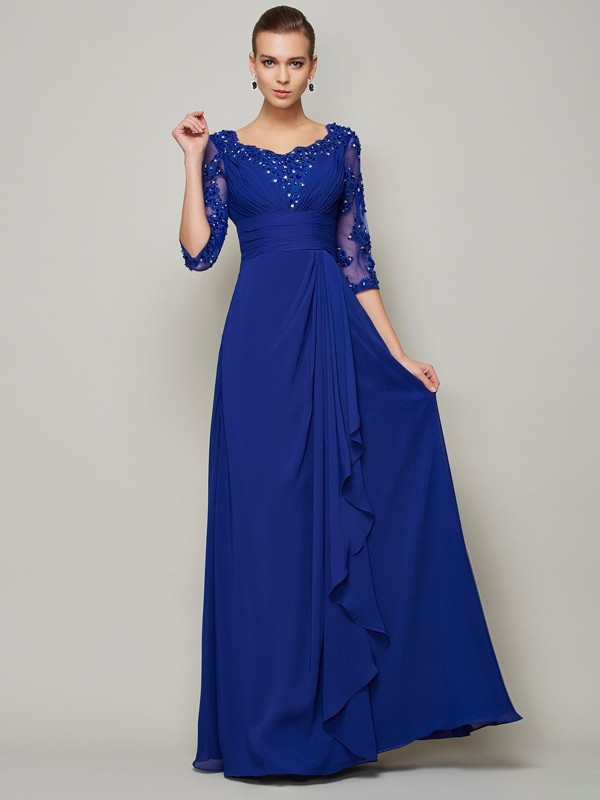 A-Line Scoop 3/4 Sleeves Lace Long Chiffon Dresses